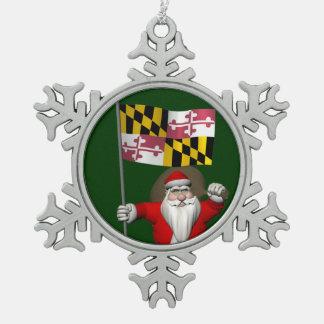 Jolly Santa Claus Visiting Maryland Pewter Snowflake Decoration
