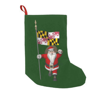 Jolly Santa Claus Visiting Maryland Small Christmas Stocking