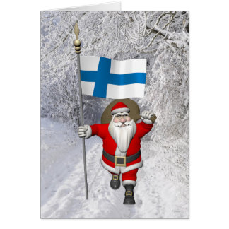 Jolly Santa Claus With Flag Of Finland Card