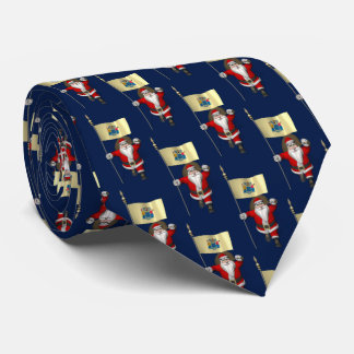 Jolly Santa Claus With Flag Of New Jersey Tie