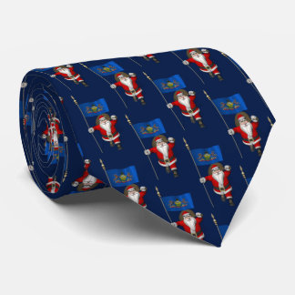 Jolly Santa Claus With Flag Of  Pennsylvania Tie