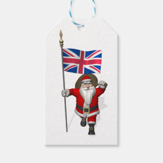 Jolly Santa Claus With Flag Of The UK Gift Tags