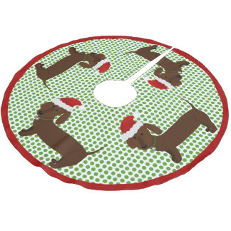 Jolly Santa Dachshunds - Brown Brushed Polyester Tree Skirt