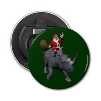 Jolly Santa Riding A Rhino Bottle Opener
