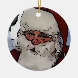 Jolly Santa Round Ceramic Decoration