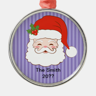 Jolly Santa Silver-Colored Round Decoration