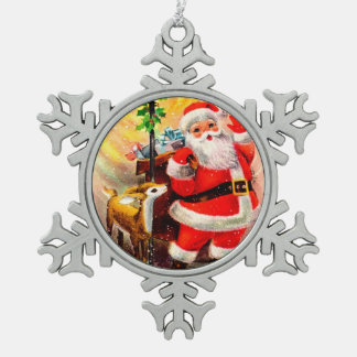 Jolly Santa with Little Reindeer Red White Pewter Snowflake Decoration