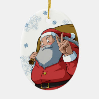 Jolly Santa with Peace Sign Merry Christmas Ceramic Oval Decoration