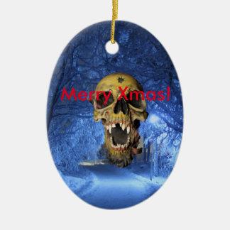 Jolly Scary Xmas Skull Ceramic Oval Decoration