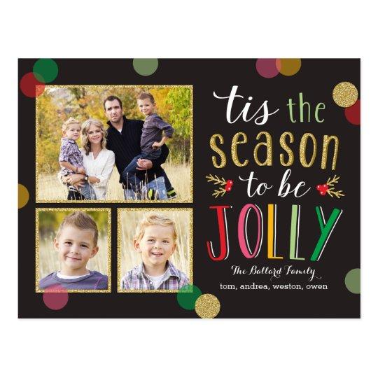 Jolly Season Holiday Photo Card Postcard