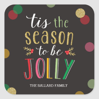 Jolly Season Holiday Sticker or Envelope Seal