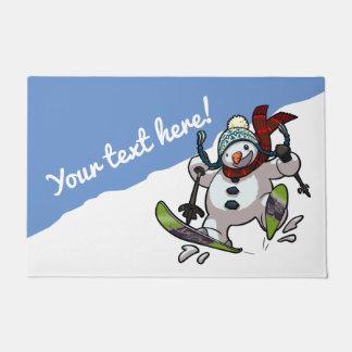 Jolly Skiing Snowman Christmas Or Winter Cartoon Doormat