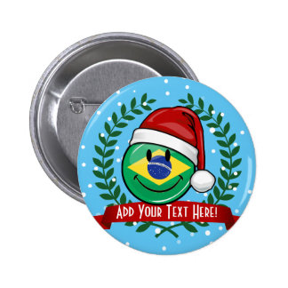 Jolly Smiling Brazilian Flag Christmas Style 6 Cm Round Badge