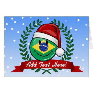 Jolly Smiling Brazilian Flag Christmas Style Card