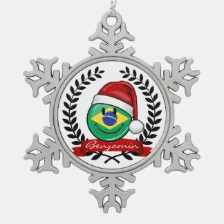 Jolly Smiling Brazilian Flag Christmas Style Snowflake Pewter Christmas Ornament
