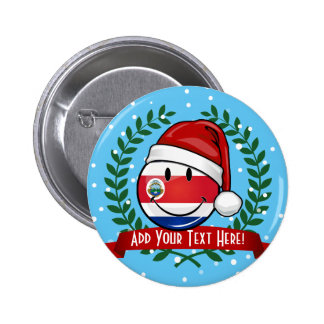 Jolly Smiling Christmas Costa Rican Flag 6 Cm Round Badge