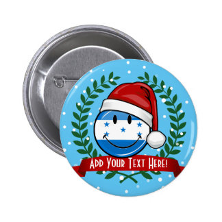 Jolly Smiling Christmas Style Honduran Flag 6 Cm Round Badge