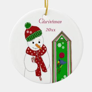 Jolly Snowman and Bird House Round Ceramic Decoration