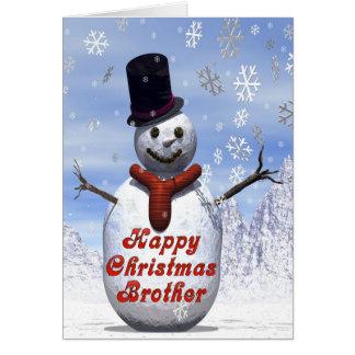Jolly snowman  Christmas card for brother
