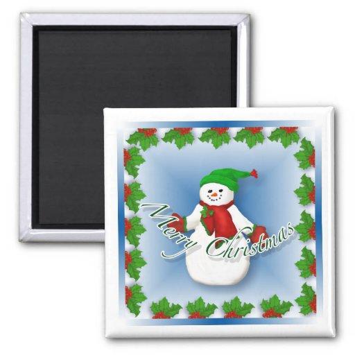 Jolly Snowman Christmas Magnet