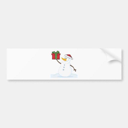 Jolly Snowman Holding A Christmas Present Bumper Sticker