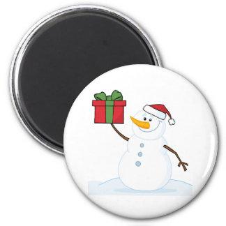 Jolly Snowman Holding A Christmas Present Magnet