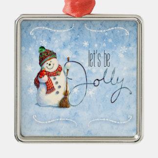Jolly Snowman LBJa Silver-Colored Square Decoration
