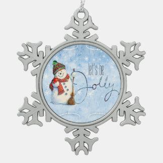 Jolly Snowman LBJa Snowflake Pewter Christmas Ornament