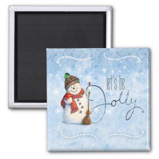 Jolly Snowman LBJa Square Magnet