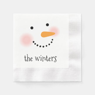 Jolly Snowman | Personalized Holiday Napkins Disposable Serviette