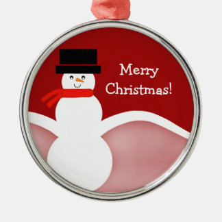 Jolly Snowman Premium Round Ornament