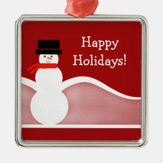 Jolly Snowman Premium Square Ornament