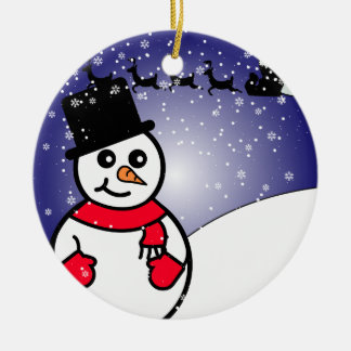 Jolly Snowman Round Ceramic Decoration