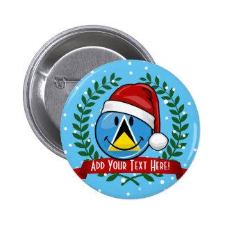 Jolly St. Lucian Flag Christmas Style 6 Cm Round Badge