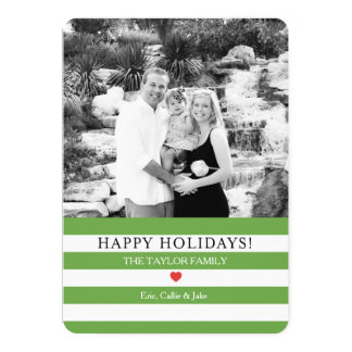 Jolly Stripes Photo Christmas Greeting 13 Cm X 18 Cm Invitation Card