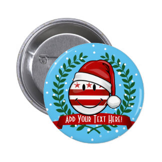 Jolly Washhington DC Flag Smiley Christmas 6 Cm Round Badge