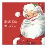 Jolly Winking Santa Claus, Vintage Christmas 13 Cm X 13 Cm Square Invitation Card