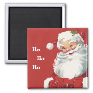 Jolly Winking Santa Claus, Vintage Christmas 2 Inch Square Magnet