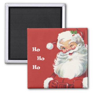 Jolly Winking Santa Claus, Vintage Christmas Square Magnet