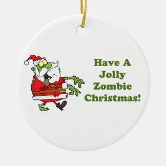 Jolly Zombie Christmas Round Ceramic Decoration