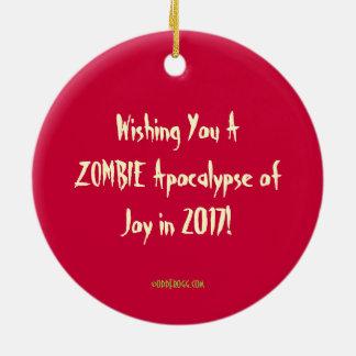 Jolly Zombie Happy New Year Ornament 2017 (Green)