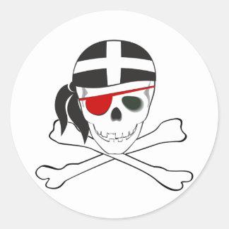 JollyRoger wearing Cornish Flag Round Sticker