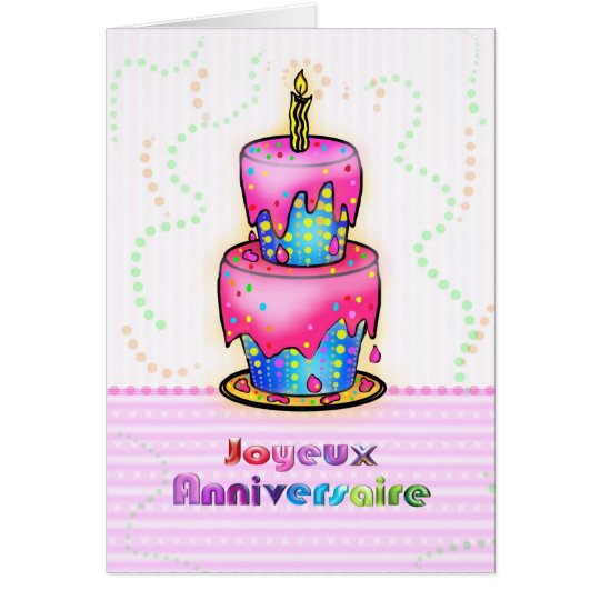 Jolyeux Anniversaire French Happy Birthday Cake Card