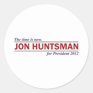 Jon Huntsman The Time is Now President 2012 Round Sticker