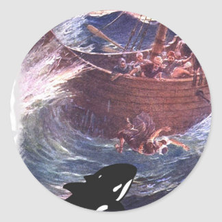 Jonah 1:17 - Jonah and the Whale Round Sticker