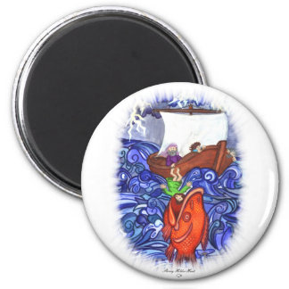 Jonah and the Big Fish 6 Cm Round Magnet