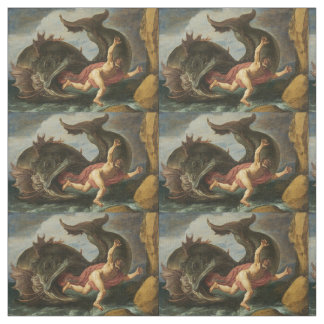 """Jonah and the Whale"" art custom fabric"