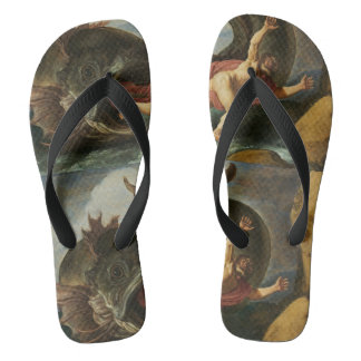 """Jonah and the Whale"" art sandals Flip Flops"