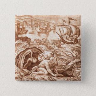 Jonah and the Whale, illustration from a Bible, en 15 Cm Square Badge