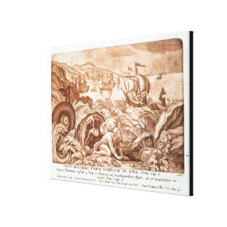 Jonah and the Whale, illustration from a Bible, en Gallery Wrapped Canvas